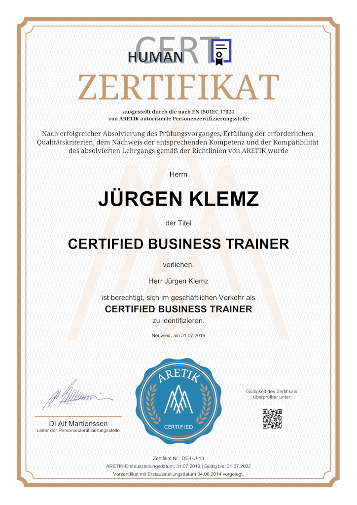 Business Trainer Jürgen Klemz